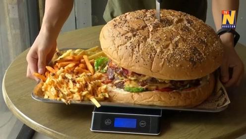 泰国一餐厅推出大胃王汉堡,9分钟内吃完奖金奉上