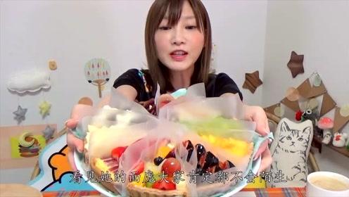日本大胃王木下吃18英寸酸奶蛋糕,一口接着一口,网友:难道不腻吗?