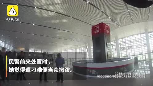 女子无票强闯高铁站被拦,当众躺地撒泼打滚