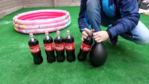 尝试在池中放入可乐和曼妥思,结局会发生什么呢?