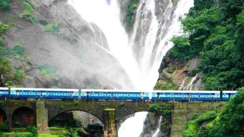 """印度最""""刺激""""的火车,从300米瀑布穿过,网友:免费洗火车!"""