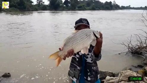 河边大叔将钓竿撒下静静的看着浮漂拉动就提钓,第一竿收获肥鲤鱼