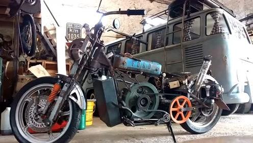 牛人拼装的摩托车,太拉风了,感受一下这咆哮声