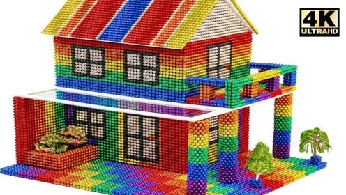 趣味手工制作:磁力珠做漂亮两层楼房