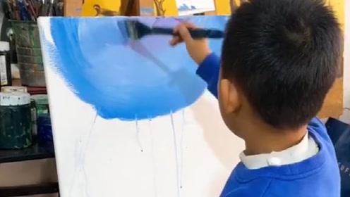 8岁男孩在绘画上这么有天赋,长大不去刮大白太可惜了!牛逼!