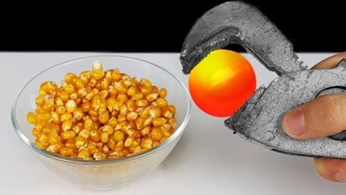 1000度的铁球放进玉米粒中,能炸出爆米花吗?结果你猜怎么着!