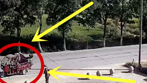 三轮车路边问路,刚起步瞬间粉碎,一旁路人瞬间瘫倒!