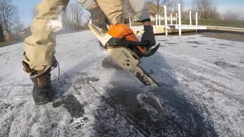 老外发现一条被冻住的鱼,将冰层锯开后,才发现更大的惊喜