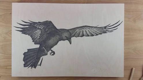 """老外拿""""火药""""画了只猫头鹰,点燃的瞬间,才是最绚丽的开始"""