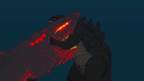 哥斯拉下海大战烈焰巨齿鲨,双方都使出了绝招