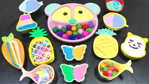 DIY史莱姆教程,蝴蝶泥混合彩色毛毛球、菠萝泥、水果泥