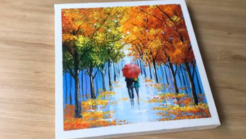 手工绘画-情侣雨中漫步画