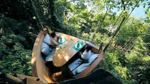 奇葩的树屋餐厅,吃个饭还要上树,送餐人员各个身怀绝技