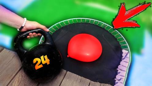 24公斤的壶铃砸到水气球上,慢镜头记录全过程,画面太惊艳!