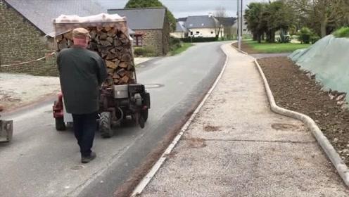 工人大叔自制超便捷叉车,搬运货物真方便,看完我心动了