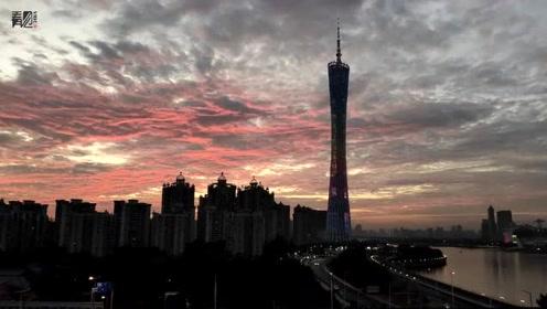 超美晚霞霸屏广州 网友直呼:爱了