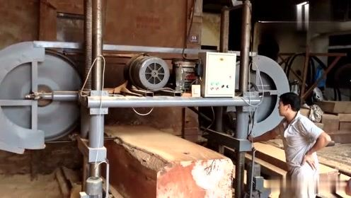 实拍印度木材加工厂切割大型木头,恕我直言,这机械太强大了!