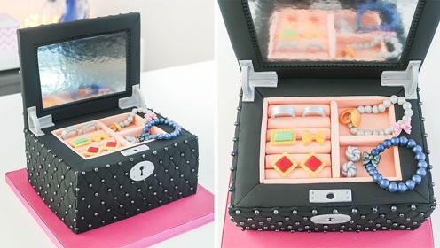 烘焙大师做出的首饰盒蛋糕,和真实世界的一模一样,怪不得如此贵
