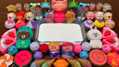 DIY史莱姆教程,蛋糕彩泥+冰激凌彩泥+大嘴唇彩泥+宠物彩泥,好玩解压