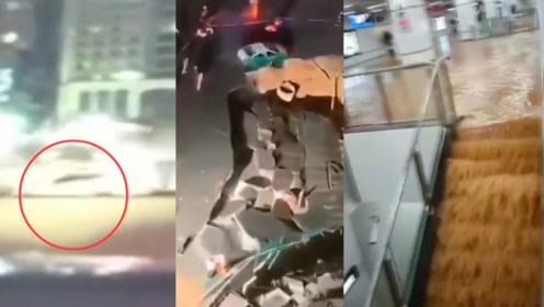 行车记录仪记录下坍塌瞬间!厦门吕厝发生路面坍塌 地铁站有大量积水