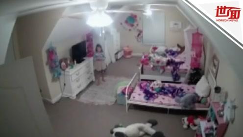 8岁女童卧室监控遭入侵 诡异男子说了一句话吓得孩子大喊妈妈