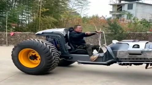 大哥耗资百万,自己打造的三轮车,开出去绝对拉风!