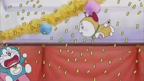 哆啦A梦:大雄又搞事,参加晚会都会掉进蛋糕,哆啦a梦去救他