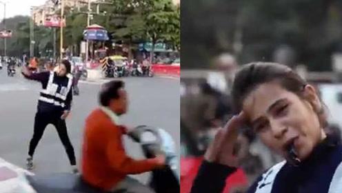 印度女硕士魔性指挥交通走红网络,警察局长都点赞