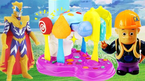 奥特曼的冰棍雪糕制作机,过家家小手工彩泥玩具