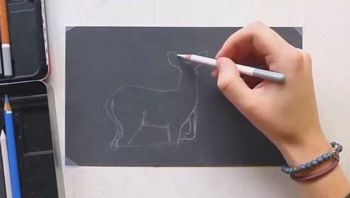 4分钟教你画,雪地里的一只鹿,你学会了吗?