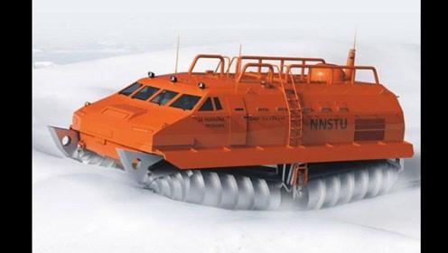 这种水陆两栖越野车,能在冰天雪地、沼泽飞奔,还能原地360度转弯!
