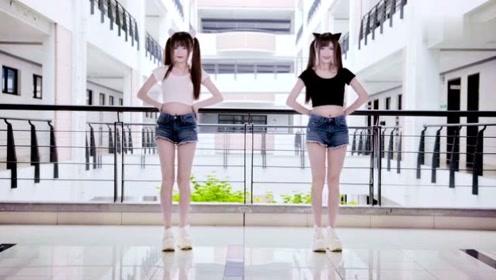 双胞胎一起教你《学猫叫》,白猫黑猫谁跳的比较好!