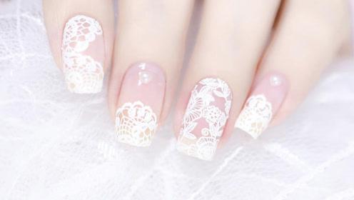 超优雅的蕾丝刺绣美甲 指甲油版