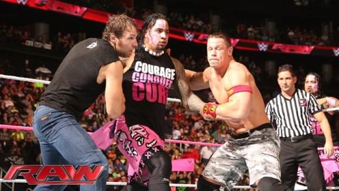 WWE塞纳不愧是超级巨星,一招打倒4个对手,队友都被他吓着了!