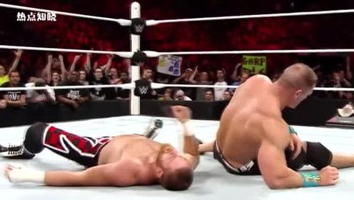 WWE约翰和对手打得难分,比赛太激烈了,约翰这一击太帅了!
