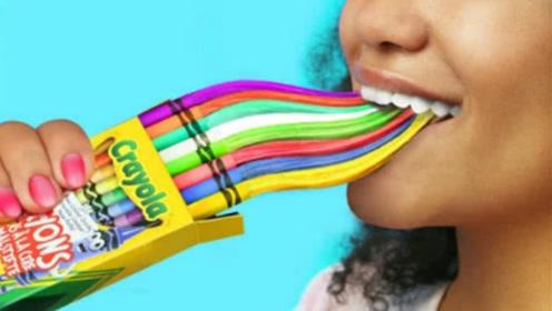 校园恶作剧:DIY闺蜜的脑洞太大了,把软糖装进颜料盒、胶水中