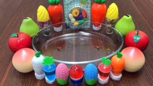 水果彩泥 胡萝卜玉米彩泥 透明泡泡史莱姆,自制史莱姆,手工超棒呢