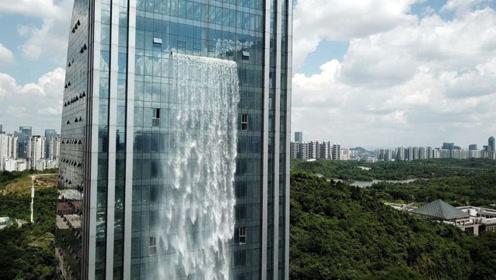 我国首座人工瀑布大楼,从百米高空倾泻而下,每次只开放20分钟
