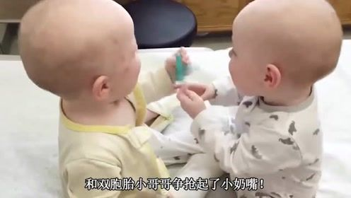 双胞胎在卧室玩,太可爱逗乐了,双胞胎小宝宝争抢奶嘴