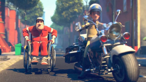 一部搞笑动画,男子坐着轮椅还敢跟别人飙车,老司机都不敢这么玩