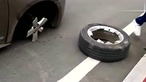 刚买不久的新车,开着开着,车轱辘就掉了