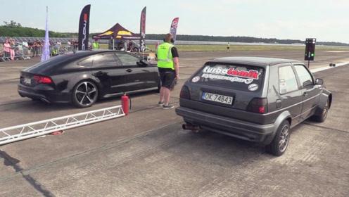 奥迪RS7单挑高尔夫GTI,猜到开头却猜不到结尾!