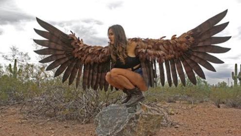 外国女孩发明人造鸟翼,靠感应器自由煽动,终于实现飞天梦想!