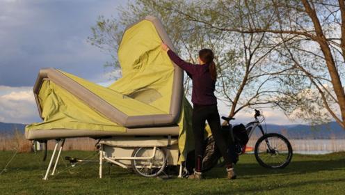 老外发明这露营神器,展开秒变房车,自行车就能拉着走