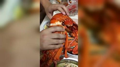 这么大的龙虾不能我一个人吃,给你们听听声音