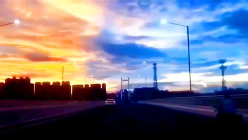 延时航拍潮州魔幻天空很空灵:一半烈火一半蔚蓝!