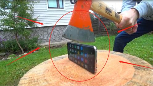 为检验三星S8手机的质量?老外用斧头测试,网友:太狠了