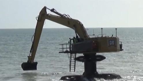 你有见过在海里的挖掘机吗?水下施工实拍,这操作还是第一次见