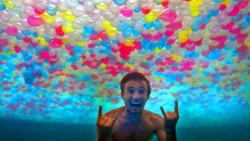 20000水球放泳池里会怎样?老外奋力一跳,网友:土豪的快乐