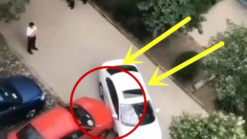 这就是随意停车的后果,红车霸气了,就是不能惯白车的毛病!